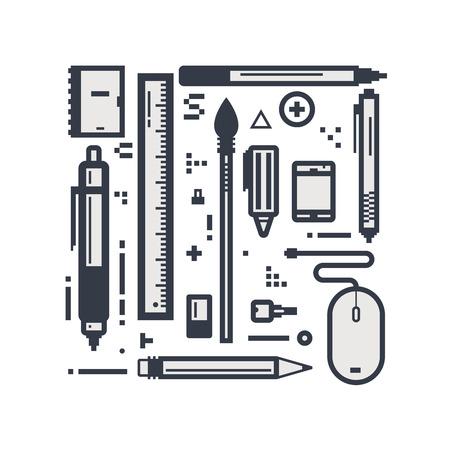 articulos de oficina: Conjunto de líneas de píxeles objetos de diseño de estilo. Algunos lápices de dibujo y bolígrafos. artículos de oficina concepto lineal.