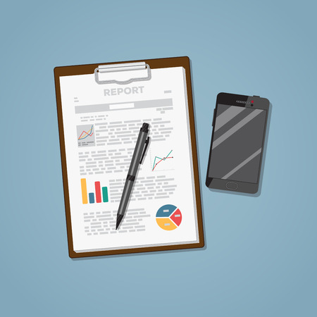 Finance report documents with diagrams. File with pen and black phone. Flat style realistic illustration.