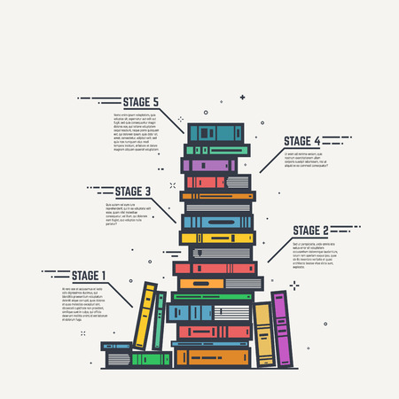 Education steps learning process illustration. Pile of color books and magazines with black lines and sparks infographic. Flat style, thick and thin line design concept art. Illustration