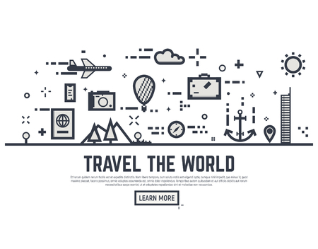 Travel the world illustration vector concept. Thin line style travel banner for web page or tour organization. Illustration