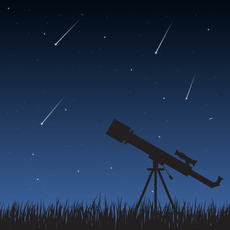 stargazing: Telescope standing on the grass looking to the night sky with stars, milky way and meteors. Illustration
