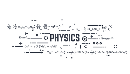 Abstract science background. Theoretical physics equations of general relativity and other science formulas. Lines and dots. Illustration