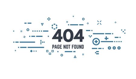 404 error page flat line concept. Link to a non-existent page. Abstract lines, dots and objects.