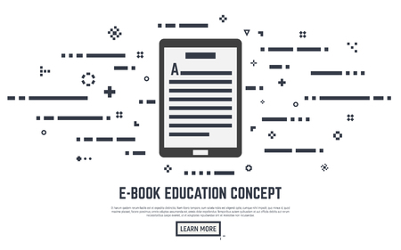 E-book learning poster concept. Electronic book with text lines and abstract dots. Placard or banner. Flat line style illustration.
