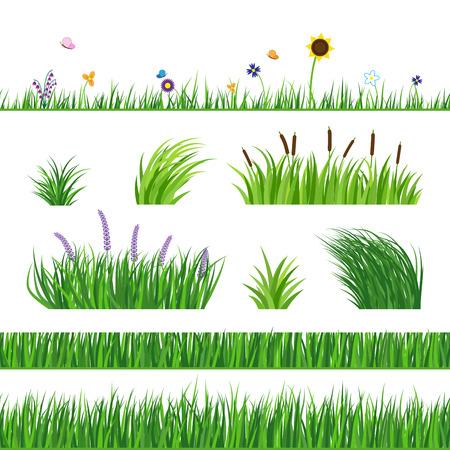 シームレスな青草微量。芝生の草、リードとひまわり。飛んでいる蝶と花。水平のシームレスな要素。