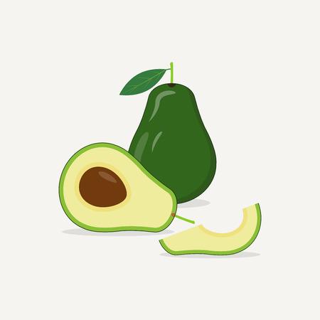 Realistic green avocado vector illustration. Half of avocado with half and slice.