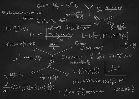 popular science: Science blackboard with math. Real physical equations of Einstein relativity theory, string theory and quantum mechanics. Used chalkboard with scratches and stains from chalk piece.