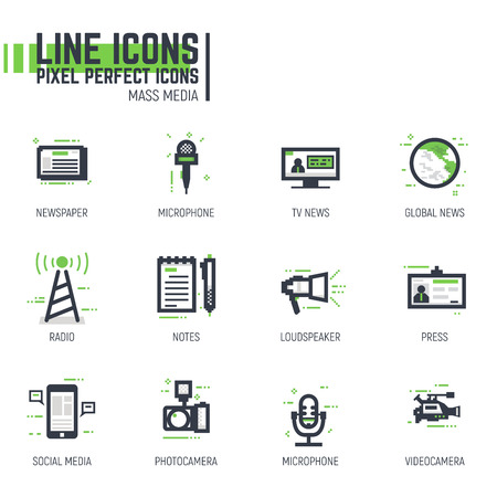 Mass media line pixel style icons set. News and media related items. Green and black colors. Tv with news, phone with social media. Illustration