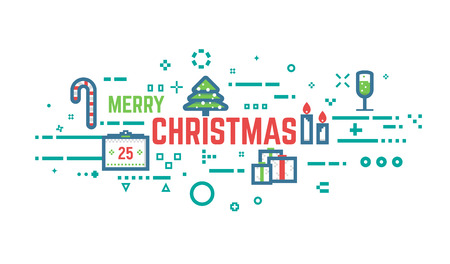 Merry christmas flat line concept banner. Xmas objects in red and green colors. Abstract lines, dots and objects.