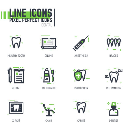 Set of pixel thick line style dental care icons. Dentist services tools and tooth icons. Black and green colors with abstract lines and pixel dots for web and design.