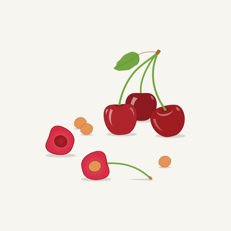 %u0421herries flat style illustration. Sweet red cherry with leaf and slice.