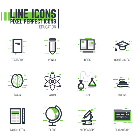 Set of pixel thick line style education icons. School and college items. Physics and chemistry signs. Black and green colors with abstract lines and pixel dots.