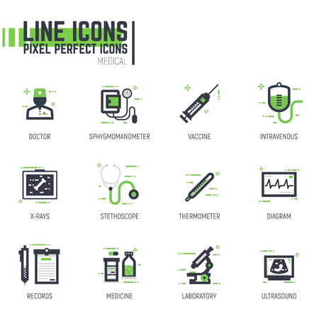 Set of pixel thick line style medical icons. Hospital and clinic items. Black and green colors with abstract lines and pixel dots. Illustration