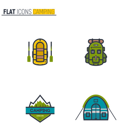 Camping flat style line icons. Rubber boat with paddle, green andventure backpack and round tent. Camp mountain with snow text emblem. Illustration