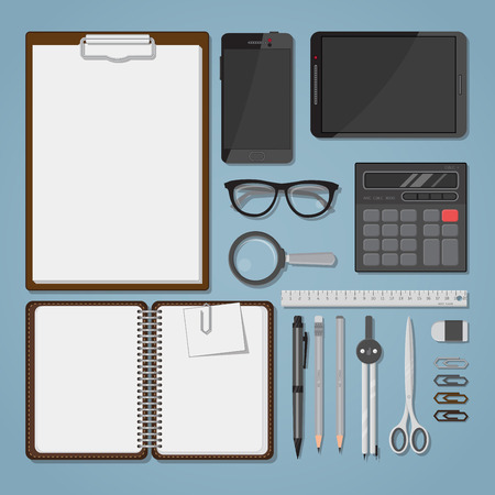 Office business items in realistic flat style. Workspace or desk and tools for paper work and writing.