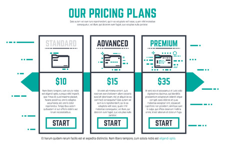 Thick line pixel graphic style pricing table for company with start button. Three different variations of folder or file with ranks and prices. Abstract lines and dots background. Illustration