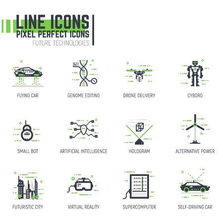 픽셀 두께의 선 스타일 미래 아이콘의 집합입니다. 미래의 기술과 과학 기술 항목, 자동차, 로봇. 미래의 기계.