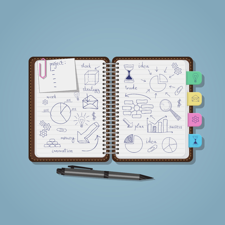 Opened notebook with blue pen business project drawings and diagrams with charts. Realistic flat style illustration. Pencil and eraser near note.