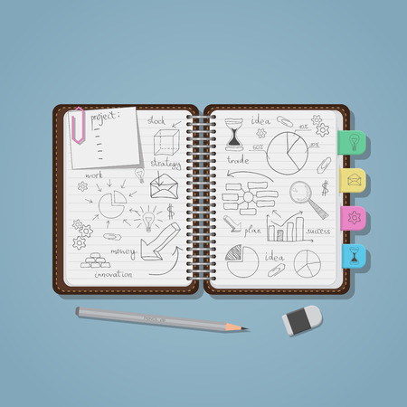 Opened notebook with pencil business project drawings and diagrams with charts. Realistic flat style illustration. Pencil and eraser.