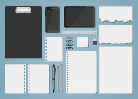 Empty blank white papers, notebook and notes flat style illustration. Office items and supplies, digital gadgets. Torn paper.
