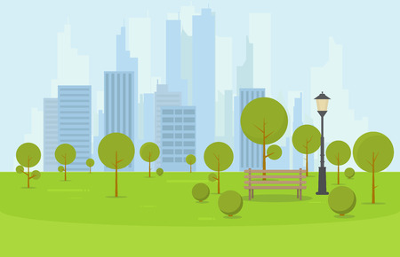 City park wooden bench, lawn and trees. Flat style illustration. On background business city center with skyscrapers and large buildings. Green park vegetation in center of big town. Illustration