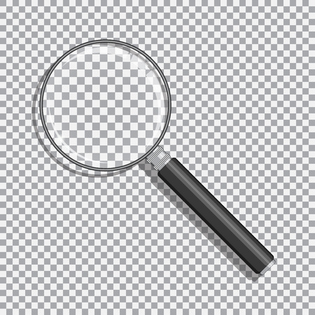 Realistic magnifying glass with transparency. Black handle and opacity background. Illustration
