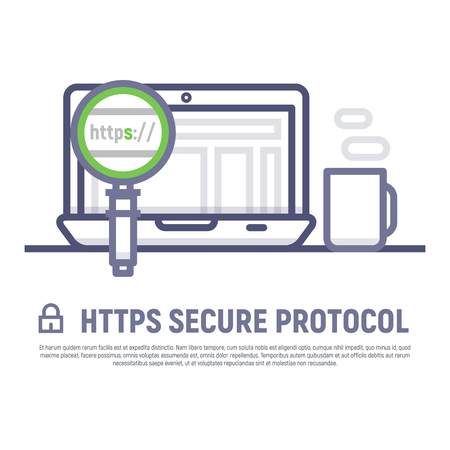 https: Https secure protocol. Notebook with website and browser with magnifying glass looking at address bar. Thin line style vector illustration.