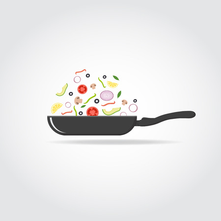 Black silhouette of cooking pan with vegetables and fruits. Healthy food concept.