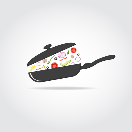 cooking utensils: Black silhouette of cooking pan with cap with vegetables and fruits. Healthy food concept.