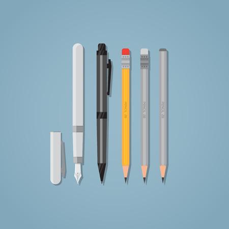 ball pens stationery: Conjunto de elementos de la Oficina de escribir. bolígrafo negro y la punta. lápices de madera con goma de borrar. ilustración de estilo plano. Vectores