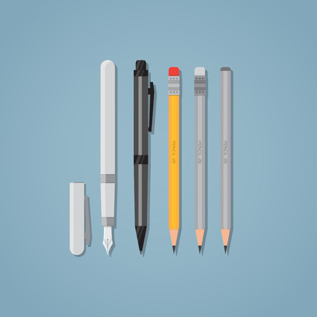 pens: Set of office writing items. Black ball pen and nib. Wooden pencils with erasers. Flat style illustration. Illustration