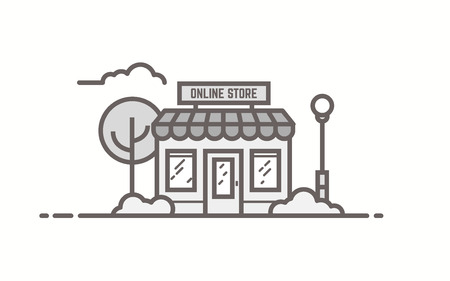 Online store building. Line outline vector illustration. Tree and bushes with street lamp and cloud. Trendy linear retro color style.