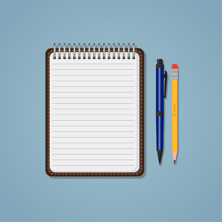 pad: Spiral notebook with lines, pencil and ballpen. Education or business concept. Office supplies.