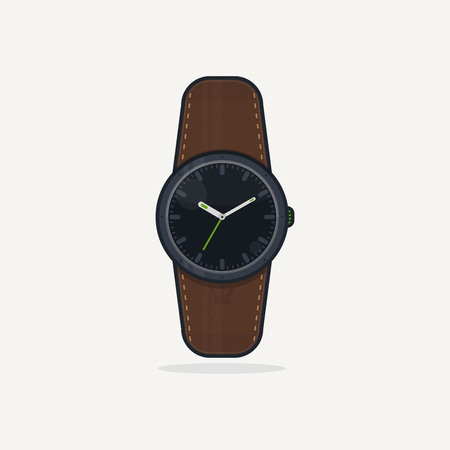 classic style: Classic wristwatch with display and leather band. Flat style vector illustration. Clock gadget.