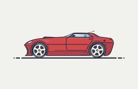 Fictional sport car line vector illustration. Red muscle car in cope body like 90-x design. Big wheels and long hood with air intake.