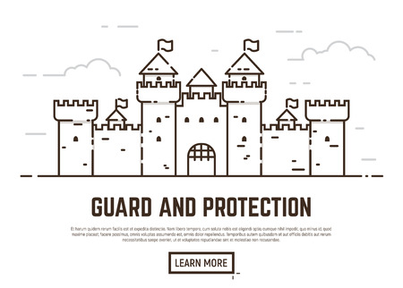 protection concept: Linear style castle vector illustration. Medieval castle with towers and walls with flags. Guard and protection concept. Opened gate.