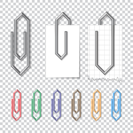 lug: Set of metal and color clips with paper. Illustration