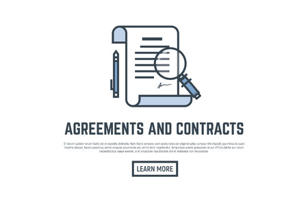 signing: Agreement and contract concept placard. Scroll and paper with pen, big magnifying glass.