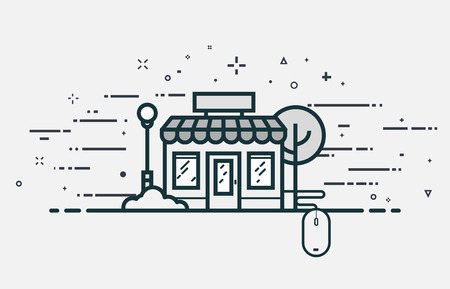 roof windows: Online store concept. E-commerce building with windows and roof and connected mouse. Flat line style illustration with abstract lines and shapes. Illustration