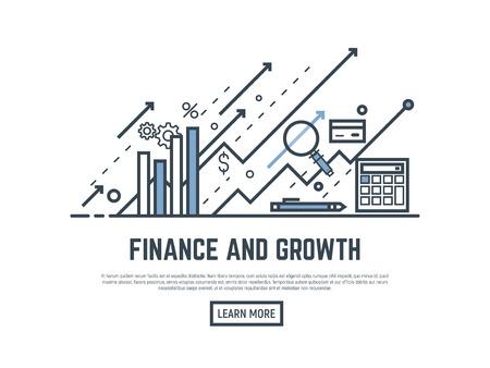 Financiële groei concept illustratie. Vergrootglas, rekenmachine, pijlen en grafiekstatistieken. Dunne lijnstijl banner. Trendy vector plakkaart met tekst en knop. Vector Illustratie