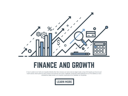 Financial growth concept illustration. Magnifying glass, calculator, arrows and graph stats. Thin line style banner. Trendy vector placard with text and button.