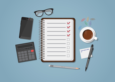Flat realistic business checklist and planning concept. Office objects, paper with list and checkmark. Coffee cup and mobile phone with glasses. Workspace calculation and managment illustration.