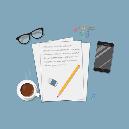 writing letter: Flat realistic business writing concept. Office objects, a4 paper letter and pencil with eraser. Coffee cup and mobile phone. Workspace brainstorm illustration. Illustration