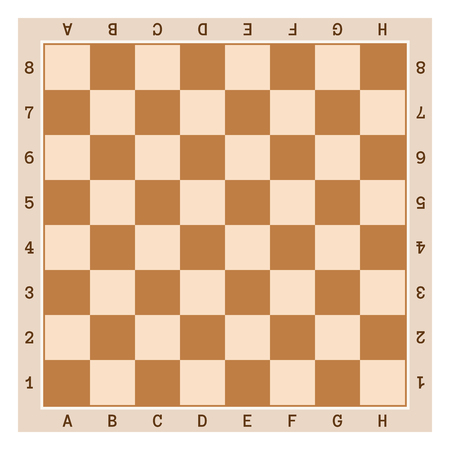 enumerated: Simple wooden chess board with letters and numbers.