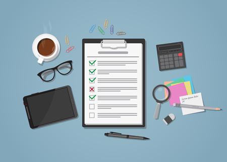 Plana lista de verificación de negocios realista en lugar de trabajo con marcas de color verde y rojo. Espacio de trabajo con la oficina de objetos distribuidos en él. Taza de café, tableta, gafas con la calculadora, lupa y papel notas. Ilustración de vector
