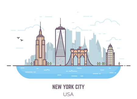 business buildings: New York City line vector pixel perfect illustration. Bridge and real famous buildings flat style. Architecture background with skyscrapers and river. USA modern town. Business center of NYC.
