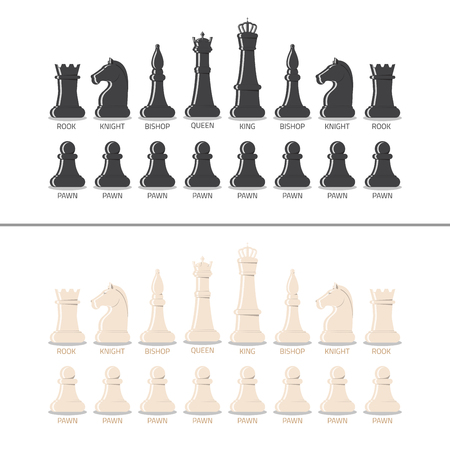 named person: All chess pieces, black and white, from pawn to king and queen. Flat style vector illustration. Illustration