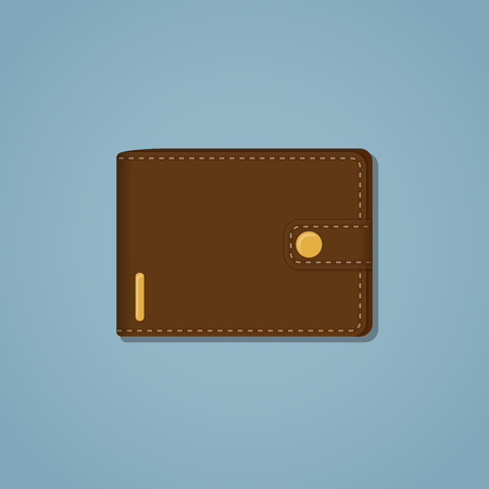 pocketbook: Leather brown wallet with gold snap and stroke on a blue background. A mixture of realistic and flat style with shadow. Business or money concept item.