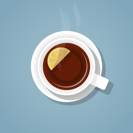 five o'clock: Top view on a white cup of hot, fragrant, freshly brewed gray tea with lemon and steam, on a saucer with a shadow isolated on a blue background. A mixture of realistic and flat styles vector.