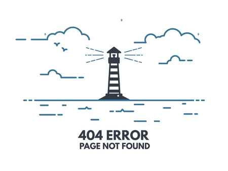 404 error page flat line concept. Link to a non-existent page. Lighthouse with rays of light in the sea shore, clouds, waves. 404 page not found design tamplate.